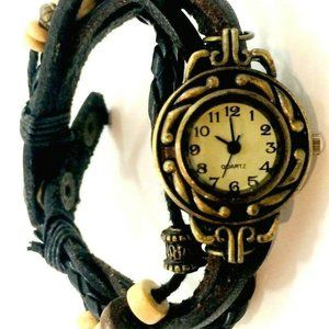 Vintage Quartz Watch Steampunks Leather Snap Butto